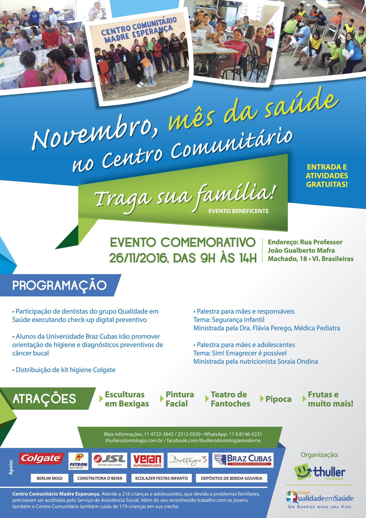 Cartaz A3 - Ação Social Grupo Qualidade em Saúde em Parceria com a Clínica Thuller Odontologia